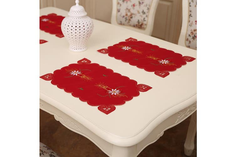4x Christmas Table Place Mats Cloth Runner Dinner Desk Cover Santa Xmas Décor - Candle (4 Mats)