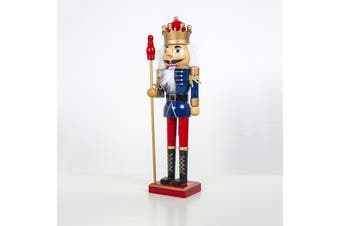 """38cm 15"""" Christmas Wooden Nutcracker Soldier Guard Figure Statue Puppet Toy Gift - King (A)"""