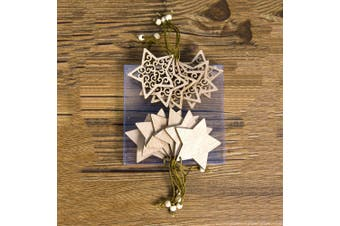 12x Christmas Wooden Tree Pendant Hanging Ornaments Xmas Party Home Craft Décor - Stars