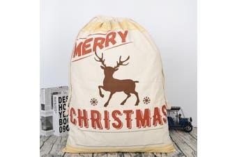 50x70cm Canvas Hessian Christmas Santa Sack Xmas Stocking Reindeer Kids Gift Bag - Cream - Reindeer