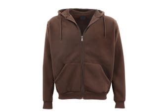 Adult Unisex Plain Fleece Hoodie Hooded Jacket Men's Zip Up Sweatshirt Jumper - Brown - Brown