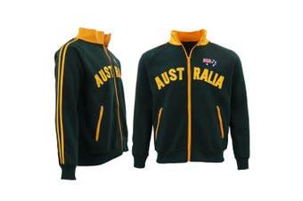 Adult Baseball Zip Up Jacket Australian Australia Day Souvenir Jumper Sweatshirt - Bottle Green