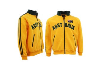Adult Baseball Zip Up Jacket Australian Australia Day Souvenir Jumper Sweatshirt - Gold