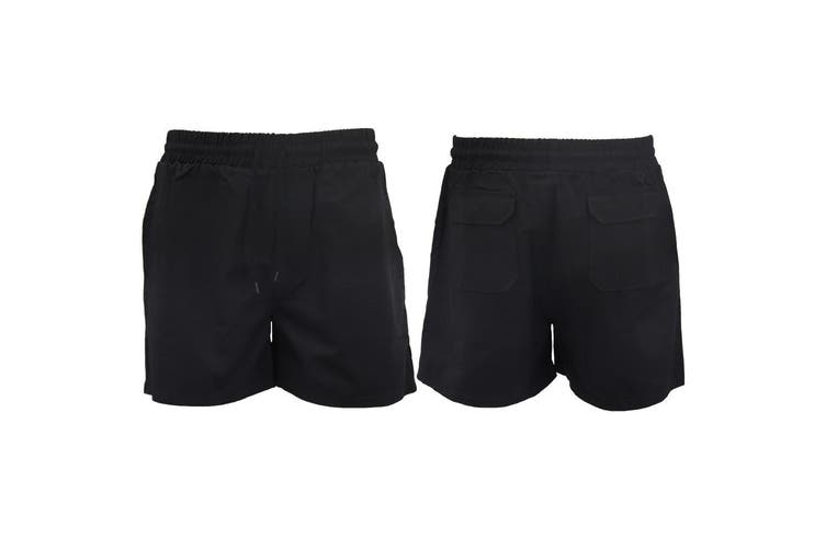 Men's Heavy Duty Cotton Drill Work Shorts Trousers Pants Elastic Waist 4 Pockets - Black (Size:2XL)