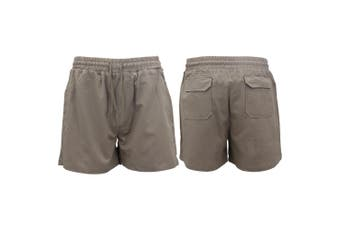 Men's Heavy Duty Cotton Drill Work Shorts Trousers Pants Elastic Waist 4 Pockets - Grey - Grey