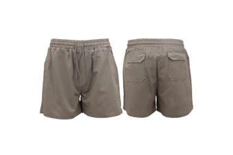 Men's Heavy Duty Cotton Drill Work Shorts Trousers Pants Elastic Waist 4 Pockets - Grey (Size:M)