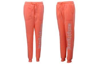 Mens Womens Fleece Lined Track Pants Sport Suit Slim Cuff Trackies Slacks Jogger - Peach - Peach