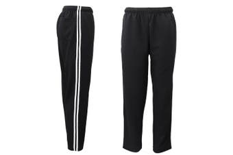 Mens Drawstring Track Sweat Pants Trousers Casual Suit w Stripes Breathable Mesh - Black - Black
