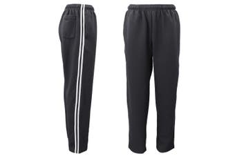 Mens Drawstring Track Sweat Pants Trousers Casual Suit w Stripes Breathable Mesh - Charcoal - Charcoal