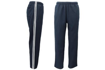 Mens Drawstring Track Sweat Pants Trousers Casual Suit w Stripes Breathable Mesh - Navy - Navy