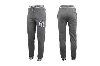 Mens Womens Unisex New York Yankees Fleece Lined Sport Joggers Sweat Track Pants - Charcoal (Size:2XL) - Charcoal