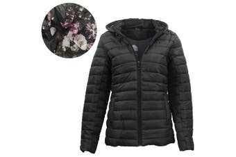 Women's Thick Hooded Puffer Jacket Quilted Padded Puffy Amethyst Coat - Black (Size:XL) - Black