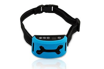Auto Anti Bark Dog Collar Rechargeable Stop Barking Pet Humane 7-Mode Waterproof - Blue