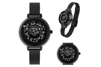 Women's Ladies Magnetic No Pointer Wrist Watches Quartz Stainless Steel Stripe - Black