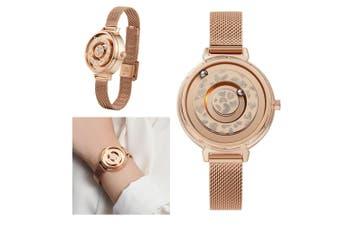 Women's Ladies Magnetic No Pointer Wrist Watches Quartz Stainless Steel Stripe - Gold
