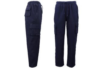 Men's 100% Cotton Drill Elastic Waist Cargo Work Pants Jeans Trousers 6 Pockets - Navy (Size:3XL) - Navy