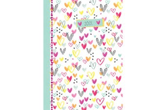 Hearts 2021 Premium Diary Planner A5 Padded Cover Christmas New Year Gift