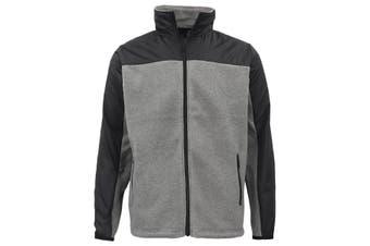 Men's Unisex Polar Fleece Zip Jumper Two Tone Sports Sweat Shirt Jacket Sweater - Black