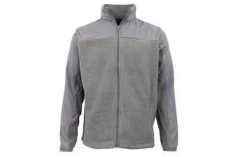 Men's Unisex Polar Fleece Zip Jumper Two Tone Sports Sweat Shirt Jacket Sweater - Grey