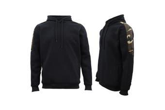 Men Unisex Pullover Fleece Jumper Long Sleeve Crew Neck Camouflage Sweater Shirt - Black