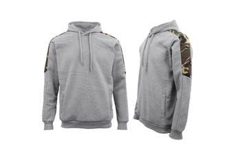 Men Unisex Pullover Fleece Jumper Long Sleeve Crew Neck Camouflage Sweater Shirt - Grey