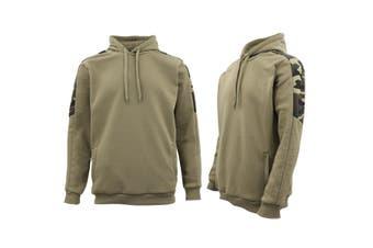 Men Unisex Pullover Fleece Jumper Long Sleeve Crew Neck Camouflage Sweater Shirt - Olive