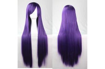 New 80cm Straight Sleek Long Full Hair Wigs w Side Bangs Cosplay Costume Womens - Dark Purple