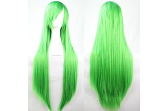 New 80cm Straight Sleek Long Full Hair Wigs w Side Bangs Cosplay Costume Womens - Green