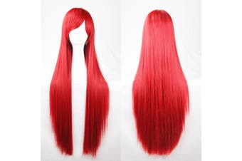 New 80cm Straight Sleek Long Full Hair Wigs w Side Bangs Cosplay Costume Womens - Red