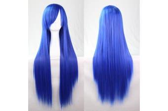 New 80cm Straight Sleek Long Full Hair Wigs w Side Bangs Cosplay Costume Womens - Blue