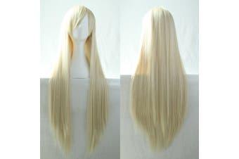 New 80cm Straight Sleek Long Full Hair Wigs w Side Bangs Cosplay Costume Womens - Light Blonde