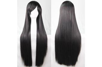 New 80cm Straight Sleek Long Full Hair Wigs w Side Bangs Cosplay Costume Womens - Black