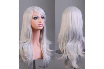 70cm Wavy Curly Sleek Full Hair Lady Wigs w Side Bangs Cosplay Costume Womens - Silver