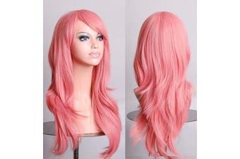 70cm Wavy Curly Sleek Full Hair Lady Wigs w Side Bangs Cosplay Costume Womens - Pink