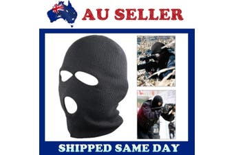 3 Holes Balaclava SAS Style Mask Neck Warmer Black Hat - Ski Paintball Fishing - Black