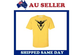 Adult Pokemon Go Team Valor Mystic Instinct Pokeball T-shirt Tee Shirt Tops - Team Instinct (Yellow) - Team Instinct (Yellow)
