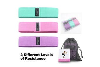 3Pcs Fabric Resistance Bands Leg Booty Band Exercise Fitness Workout Hip Loop AU