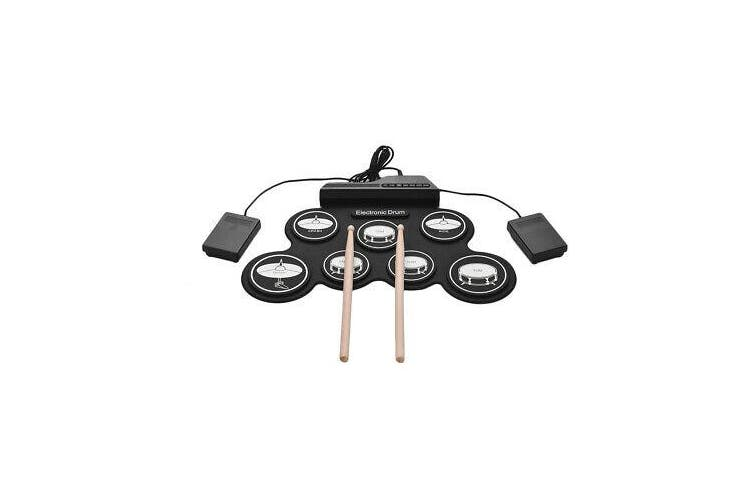 Compact Size USB Roll-Up Silicon Drum Set Digital Electronic Drum Kit 7 Drum Pad