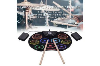 Compact Size Roll-Up Drum Set Electronic Drum Kit 9 Silicon Pad for Beginer Kids