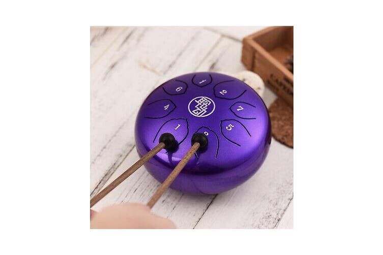6'' Steel Tongue Drum Handpan Drum 8-Notes C-Key with Mallets Drum Bag Hot X0C9[Purple]