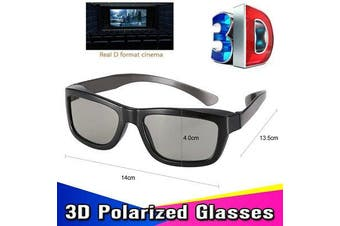 Passive 3D Glasses Circular Polarized Lenses TV Real 3D Cinemas Black Frame AU