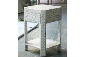 Inlay Tall Bedside Table in Floral