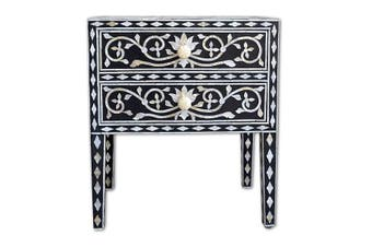 Bone Inlay Bedside Table with 2 Drawers in Scroll/Black