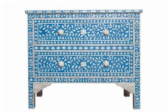 Bone Inlay 2 Drawer Chest in Blue