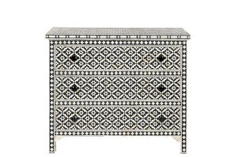 Bone Inlay 3 Drawer Chest in Wallpaper/Black
