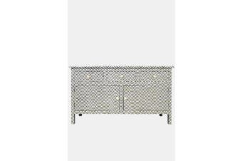 Bone Inlay Sideboard in Chevron Black