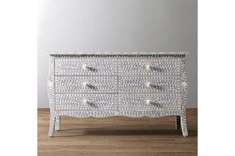 Bone Inlay Provincial 6 Drawer Dresser in Grey
