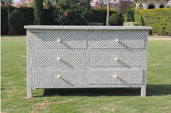 Bone Inlay Chest with 6 Drawers in Eye Design/Dove Grey