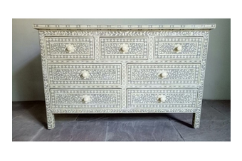 Bone Inlay Chest with 7 Drawers in Grey