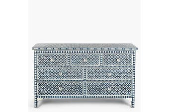 Bone Inlay 7 Drawer Chest in Wallpaper/Black